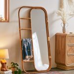 Ria Leaning Mirror With Rattan Frame And Five Rungs Additional For Hanging Essentials