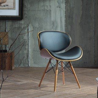 accent chair in midcentury modern style with black leather upholstered back and sturdy solid wood legs