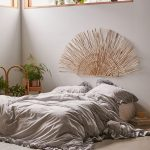 Floor Bed Idea Gray Bed Treatment Bamboo Strands Headboard As Boho Accent