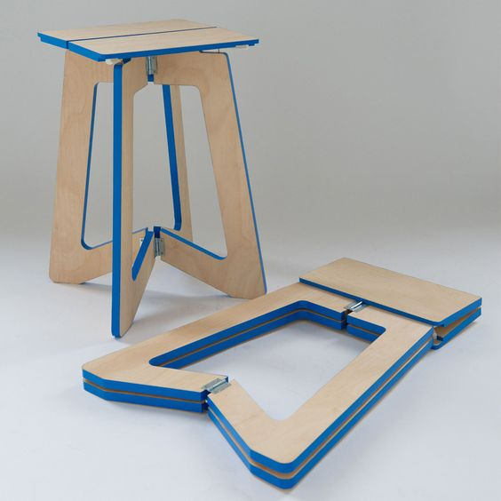 foldable stools made of thin sliced solid wood with blue accent in all edges