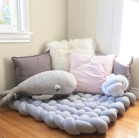 knitted surface floor cushion in light blue throw pillows whale animal stuff
