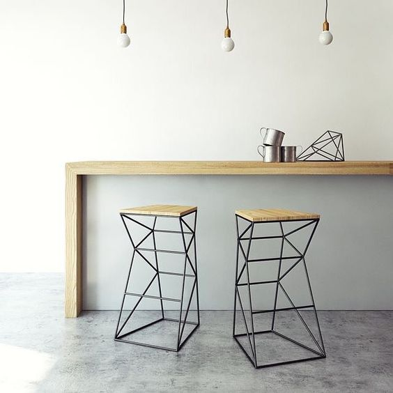 modern industrial mini bar with wall attached wood bar table wire based bar stools with wood top