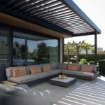 Modern Seating Area With Shade L Shaped Sofa In Gray Earthy Brown Throw Pillows