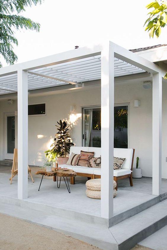 off white terrace midcentury modern sofa with white cushion hairpin leg coffee table woven pouf