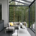 Screened Porch With Glass Screen Modern Furniture Set White Area Rug A Swing