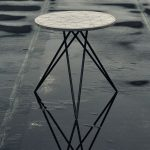 Side Table With Round Shaped Fibre Cement Top And Steel Legs