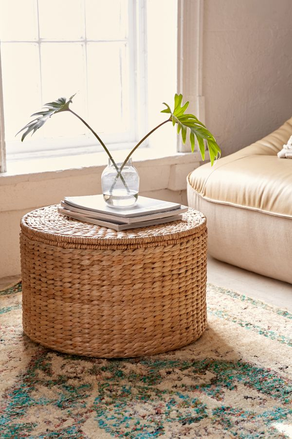 space efficient coffee table made of woven bamboos with built in storage