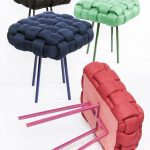 Stools With Knitted Like Seating Feature