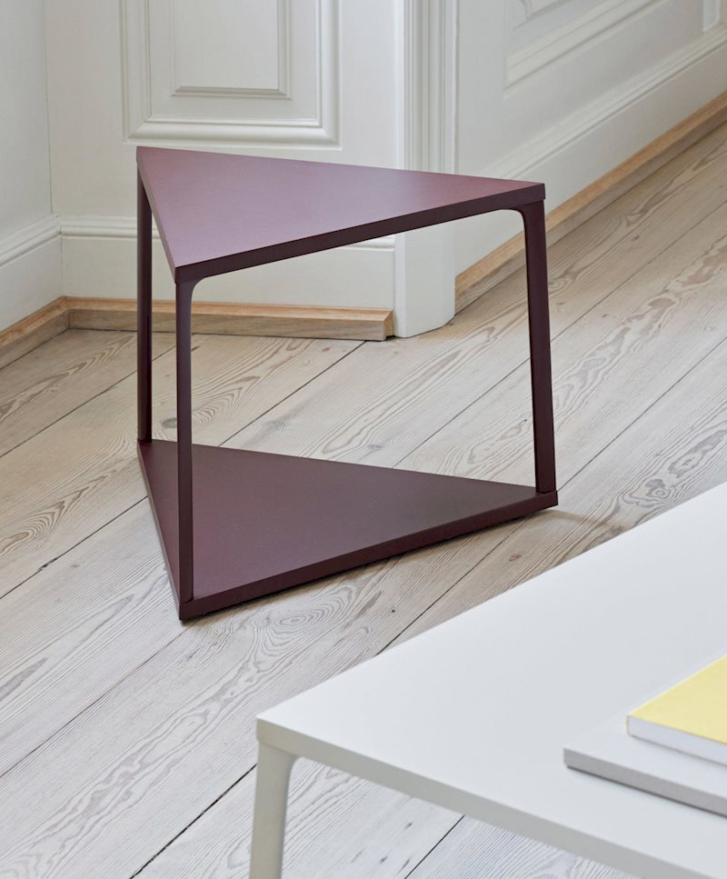 triangle top base side table with aluminum leg