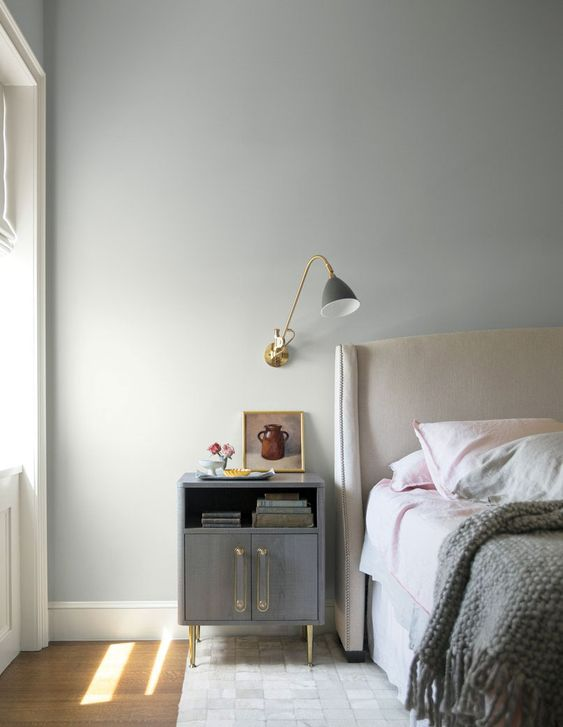 ultra soft gray bedroom wall idea wall mounted pendant with brass stand and gray lampshade gray nightstand with brass legs