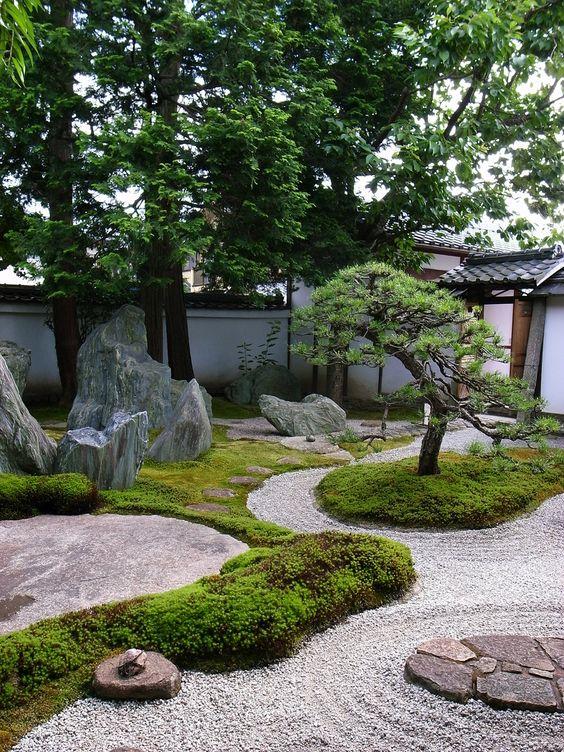 Asian inpsired garden with Bonsai dan some rocks