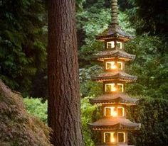 Asian inspired lighting tower for outdoor space