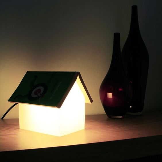Book rest reading lamp made of frosted glass