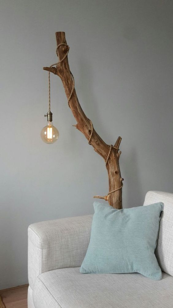 DIY lamp made of tree branch bulb and cable