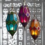 Dews Shape Moroccan Hanging Lamps With Colored Glass Cover Supported With Brass Frame And Holder