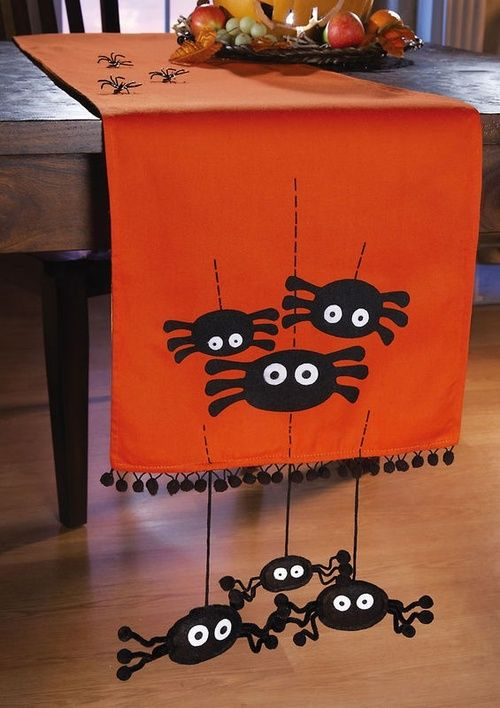 Halloween table runner in orange with cutest black spiders