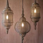 Moroccan Pendants With Wire Lanterns And Gold Finish