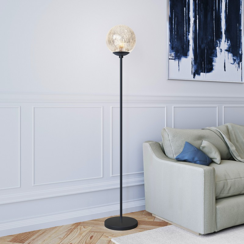 Oula floor lamp made of mercury glass and black bronze hardware