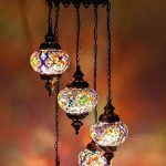 Turkish Chandelier With Mosaic Glass Lampshades And Antique Look Metal Holder