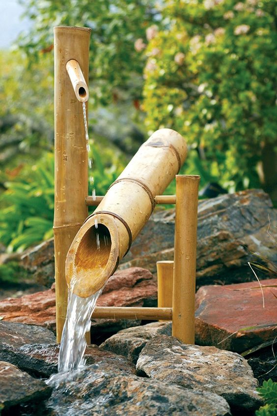 bamboo water fountain in traditional design