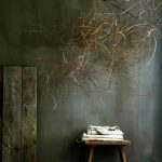 Bauwerk And Natural Lime Color Combination For Wall Wooden Stool