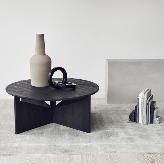 black painted coffee table with round top