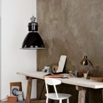 Clay Like Wall Color Rustic Working Desk White Working Chair Vintage Industrial Pendant Lamp With Black Lampshade