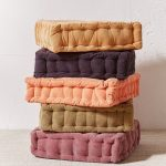 Colorful Floor Pillows With Tufted Cover
