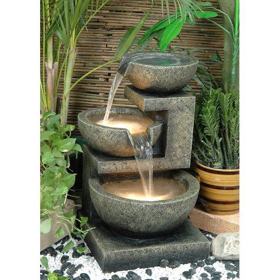 concrete bowl fountain with light for garden