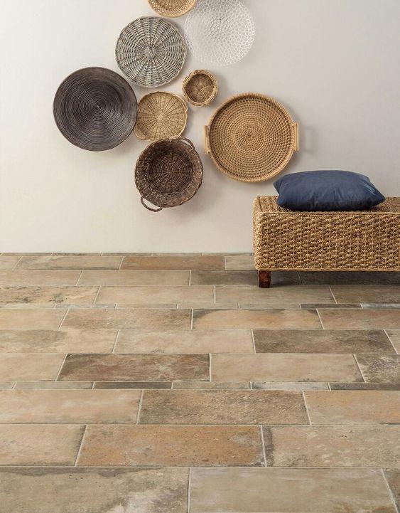 concrete tile floors wicker bench seat ornate wicker wall decors
