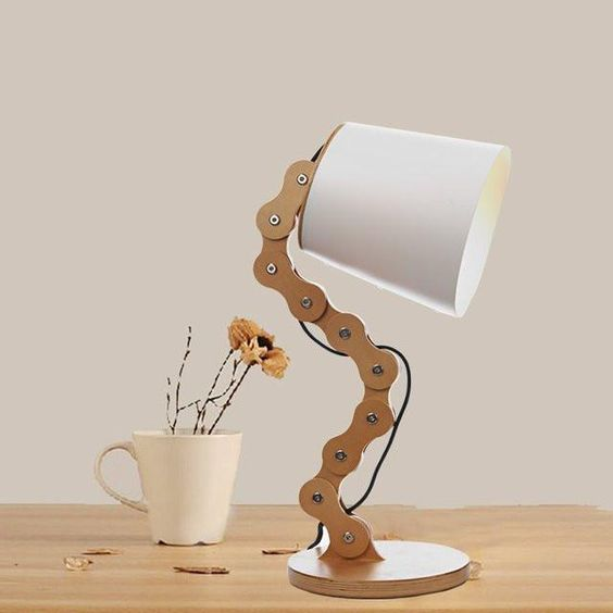 eco friendly and chemical free table lamp with wood chain base