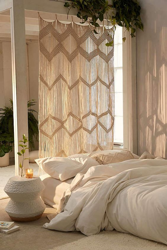 floor bed frame idea white duvet cover white bed linen and shams white side table macrame panel for bed frame