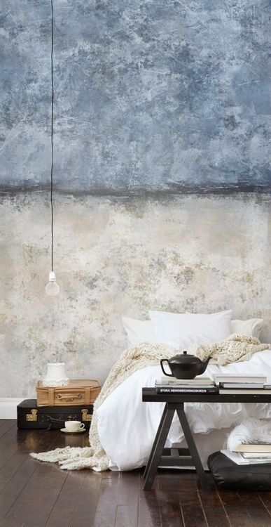 grunge colored wall idea black bench bed suitcase bedside table