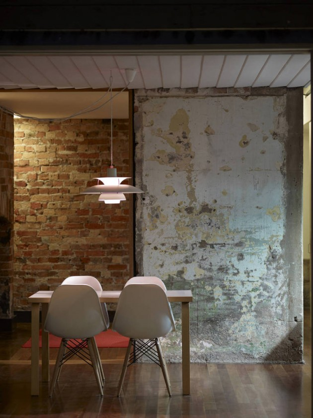 half bricks half bare concrete walls midcentury modern dining furniture set wooden floors