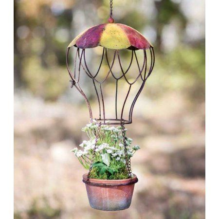 hanging planter designed like a hot baloon