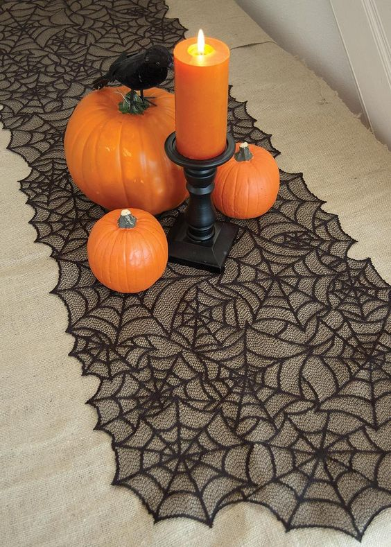 lace spider web table runner in black