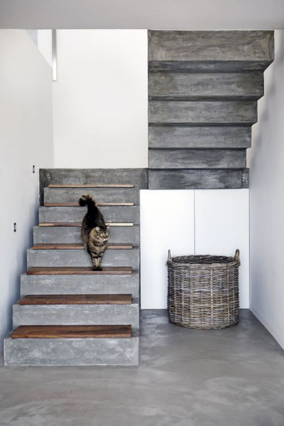 modern concrete staircase without railing system