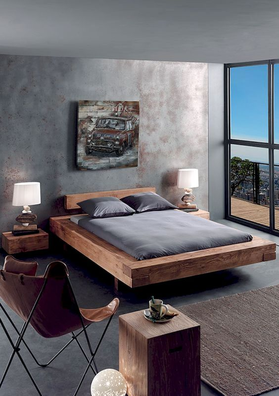 modern industrial bedroom platform bed frame with small headboard floating bedside tables clean line wood side table leather chair in modern minimalist style