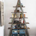 Old Dark Wood Ladder As The Ornate Display Rack