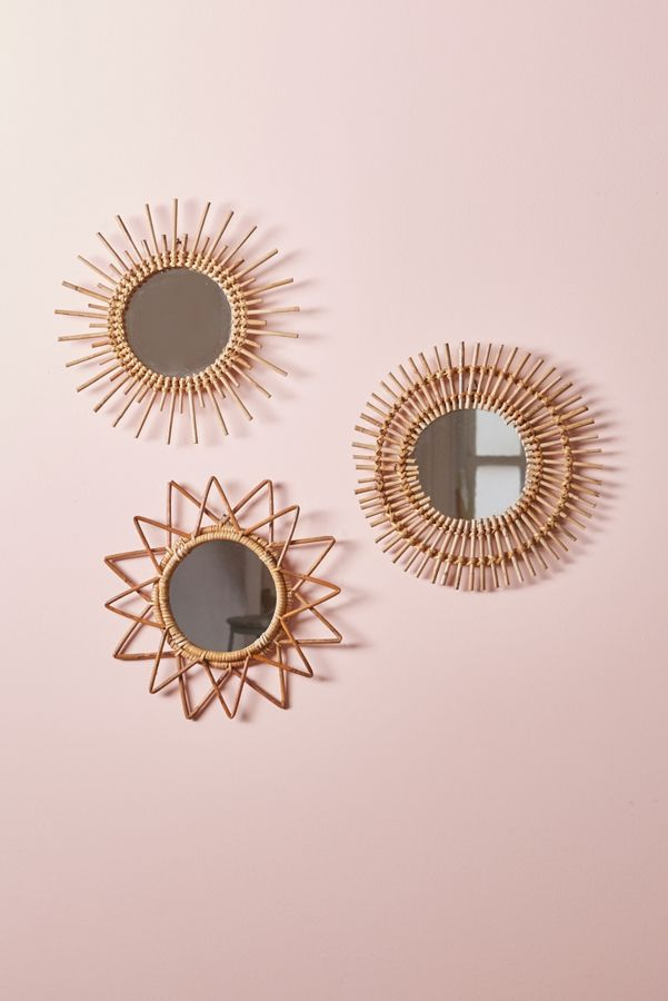 ornate wall mirrors with woven rattan frame