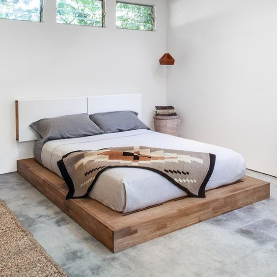 platform bed frame with separated headboard and larger surface