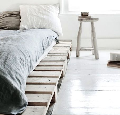 platform bed made of ultra light wood planks