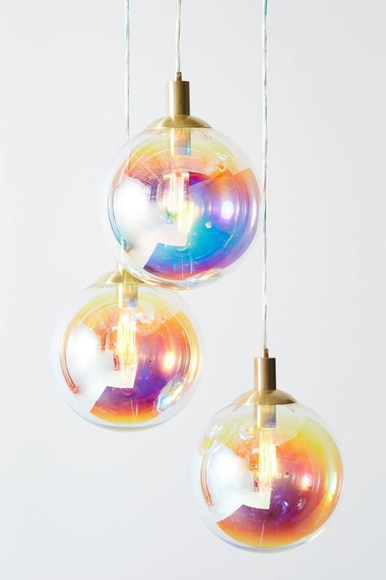 rainbow colored bubble pendants with clear glass lampshade and brass holders