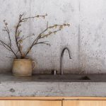 Raw Concrete Walls Raw Kitchen Counter With Wooden Cabinets