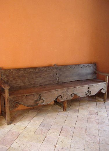 rustic furniture piece with handmade crafts