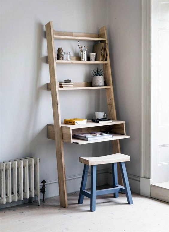 rustic ladder working desk with under shelf and some upper shelving units wood stool with blue legs