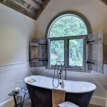 Small Bathroom Design With Rustic Touch Bathtub Small Wood Bench Small Side Table Rustic Window Blinds