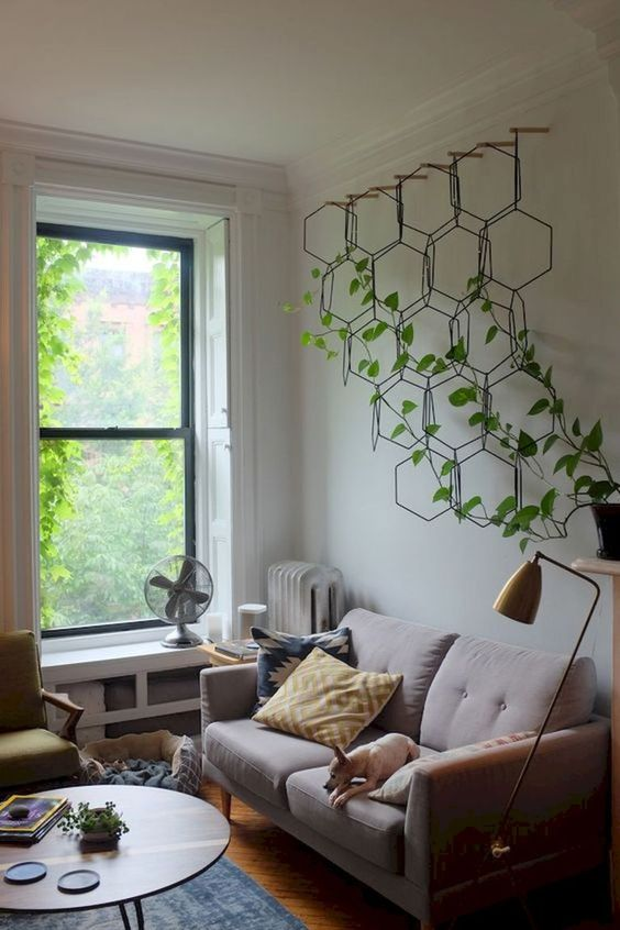 vertical indoor garden supported with hexagon media planter