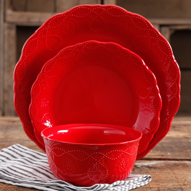 vintage dinnerware in red with subtle patterns
