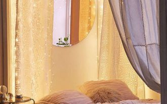white duvet cover and shams with textured surface large bed curtains with firefly string light